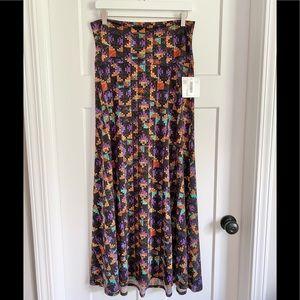 NWT LuLaRoe Purple/Multicolored Maxi Skirt Medium